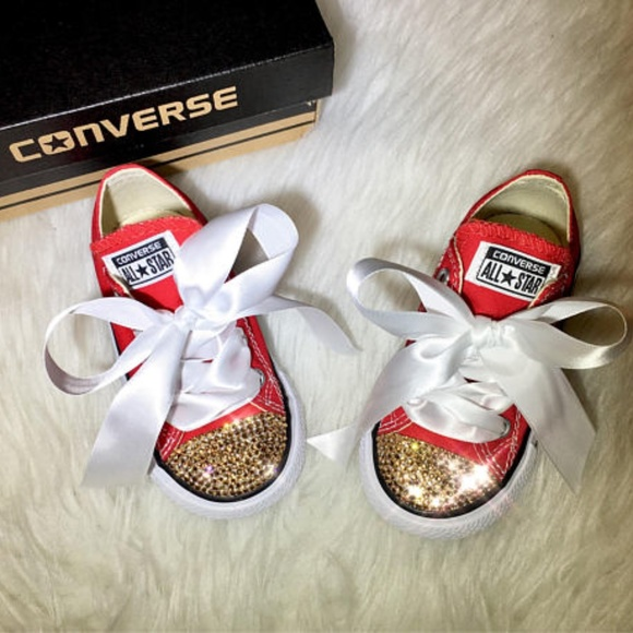 2b8aaf29c7c19 Baby Bling Red Converse With Gold Swarovski NWT